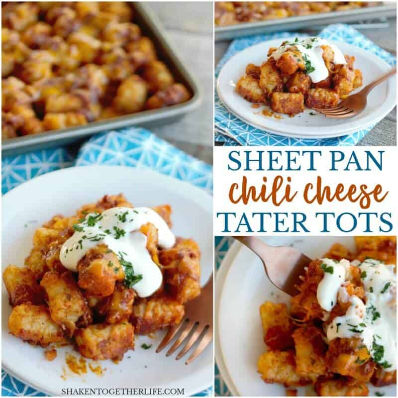 Sheet Pan Chili Cheese Tater Tots are an easy, classic comfort food appetizer that is perfect for your game day spread! This one pan snack makes for easy prep and clean up, too!