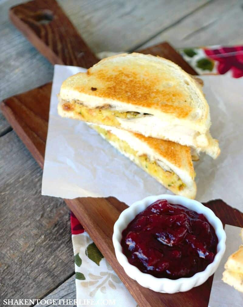 Serve these Thanksgiving Leftovers Grilled Cheese Sandwiches with leftover homemade cranberry sauce or leftover gravy! This is the most delicious way to use Thanksgiving leftovers!!