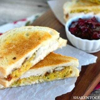 Stuffed with all of your favorite leftovers, these Thanksgiving Leftovers Grilled Cheese Sandwiches are a delicious way to enjoy Thanksgiving all over again!