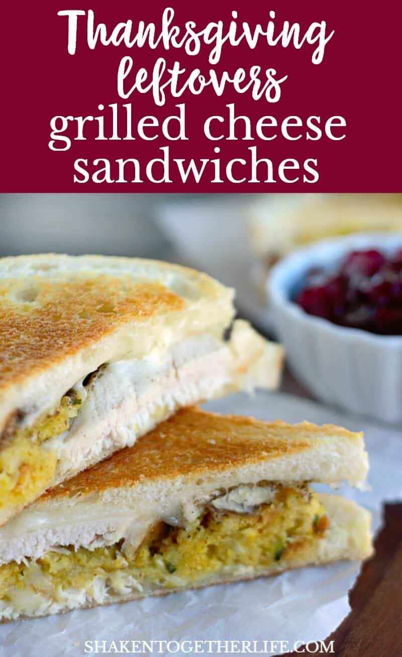 Thanksgiving leftovers get new life when added to a melty grilled cheese sandwich! These Thanksgiving Leftovers Grilled Cheese Sandwiches are the most delicious way to use those Thanksgiving leftovers!