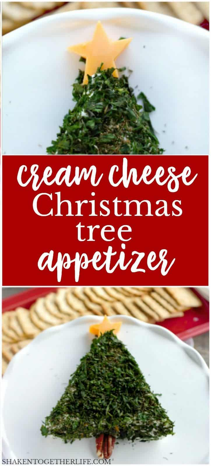 This Cream Cheese Christmas Tree Appetizer only has 2 ingredients and 2 simple garnishes - there isn't an easier holiday appetizer! We LOVE the combination of bright fresh herbs and tangy cream cheese!