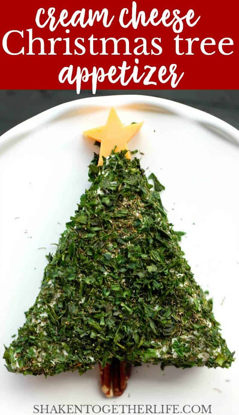 This Cream Cheese Christmas Tree Appetizer only has 2 ingredients and 2 simple garnishes - there isn't an easier holiday appetizer and we LOVE the bold herbs and creamy cheese!