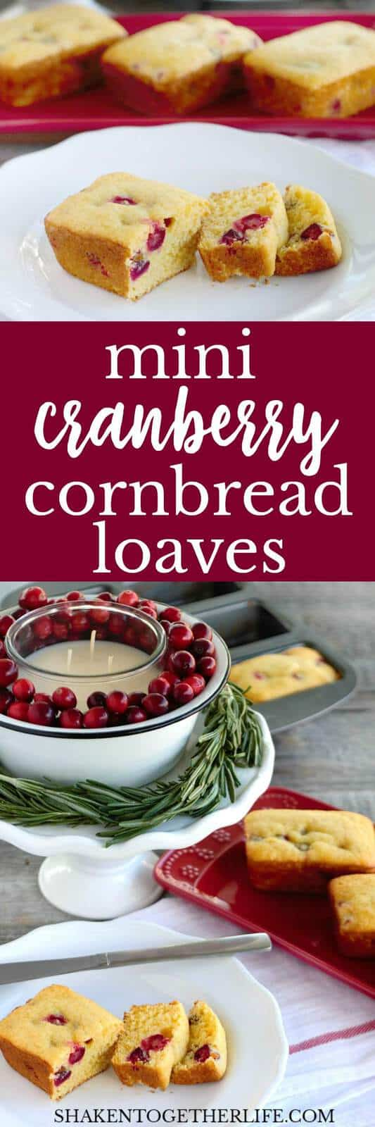 Mini Cranberry Cornbread Loaves are studded with tart cranberries and a touch of vanilla. This simple holiday side dish will steal the show at any holiday meal!