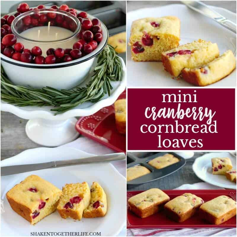 Mini Cranberry Cornbread Loaves are studded with tart cranberries and a touch of vanilla. This simple holiday side dish along with an easy Cranberry Candle Centerpiece will steal the show at any holiday meal!
