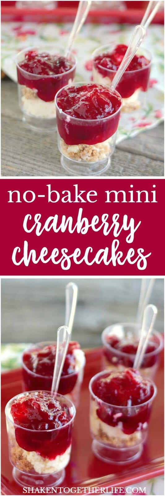 Topped with a homemade orange cranberry sauce, these No-bake Mini Cranberry Cheesecakes are an easy, impressive no bake holiday dessert!