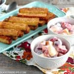 Cool and creamy, this Easy Yogurt Fruit Salad is the perfect partner to warm, toasted Cinnamon French Toast Sticks! Brunch or breakfast just got so delicious!