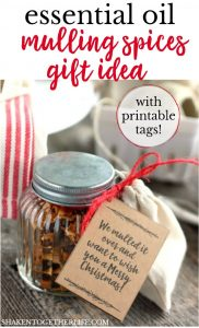 LOVE this Essential Oils Mulling Spices Gift! This handmade holiday gift can be given as is or included with a bottle of red wine or cider. Plus, there are printable tags with several sayings on them!