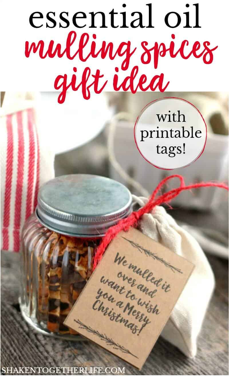 LOVE this Essential Oils Mulling Spice Gift Idea! This easy, affordable holiday gift is perfect for teachers, friends, neighbors and coworkers! The printable tags are adorable, too!