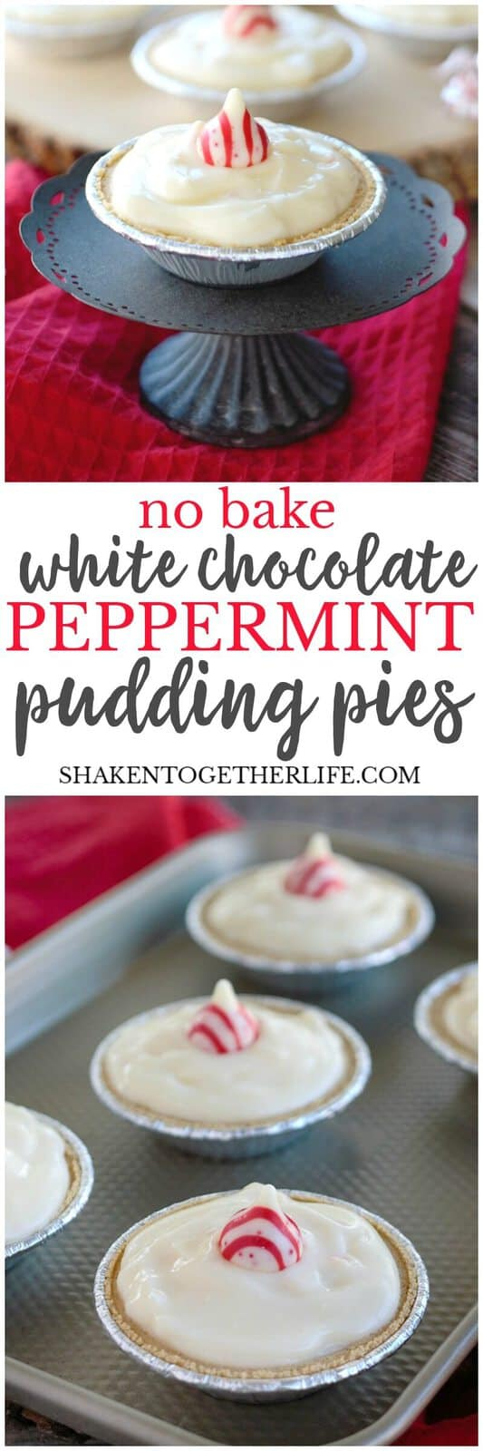 No Bake White Chocolate Peppermint Pudding Pies - this is a seriously easy holiday dessert with just 5 ingredients! The classic flavor combination of chocolate and peppermint shine in these mini pudding pies!