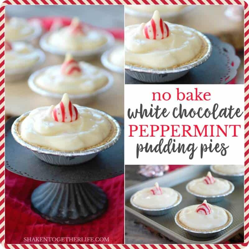No Bake White Chocolate Peppermint Pudding Pies - this is a seriously easy holiday dessert with just 5 ingredients!