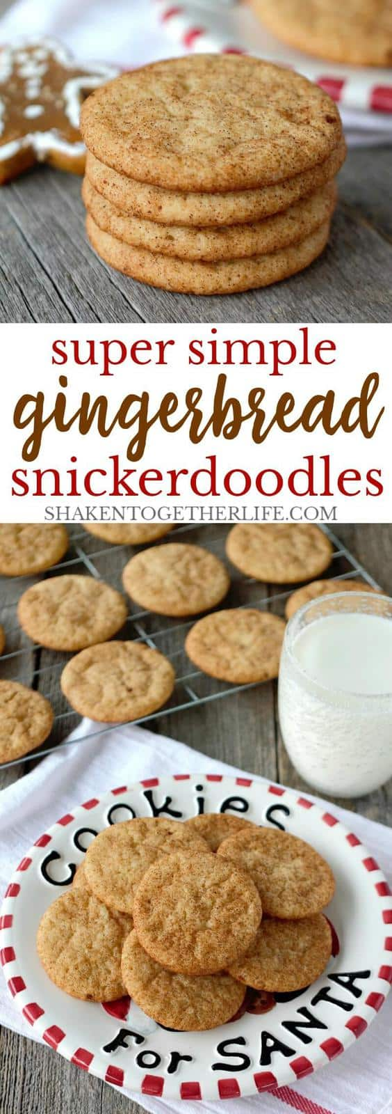 Cookies don't get easier than these Super Simple Gingerbread Snickerdoodles! These simple Christmas cookies are perfect for cookie exchanges or to leave for Santa!