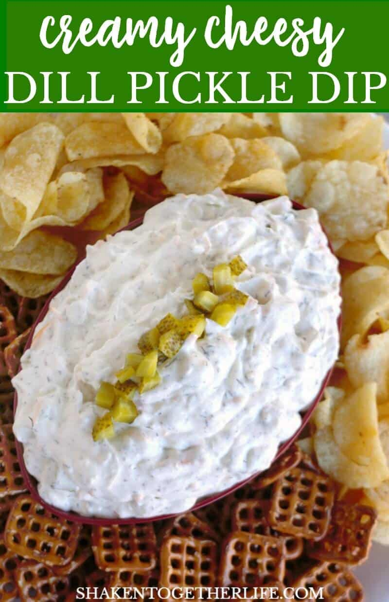 Creamy Cheesy Dill Pickle Dip is an appetizer touch down! With just one bowl and a few pantry ingredients, this flavorful dill pickle dip is a fan favorite!