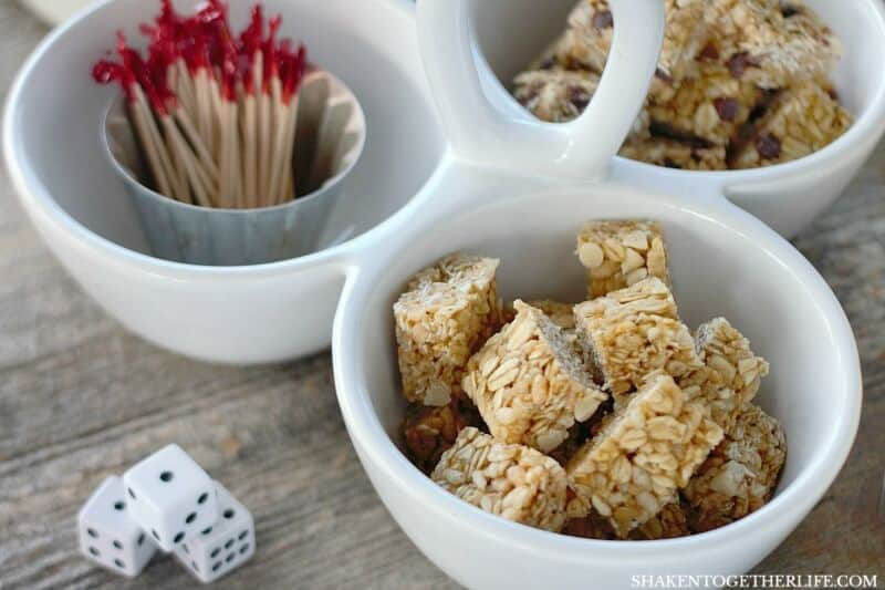 How to Host Girls Game Night: Granola Bar Bites satisfy sweet tooths and toothpicks keep dice from getting sticky!