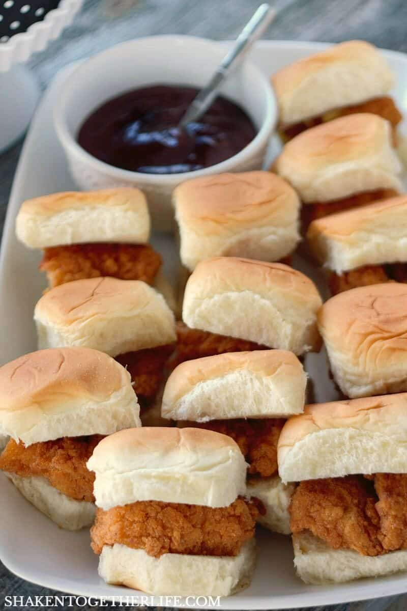 How to Host Girls Game Night - these Mini BBQ Chicken Sliders are a hand held hit!