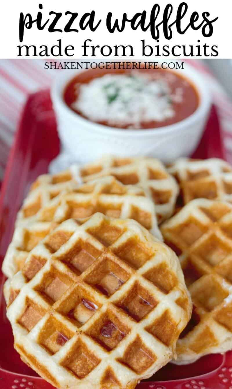 Pizza Stuffed Waffles! Just fill refrigerated biscuits with your favorite pizza topping and pop them in a waffle maker! My family is going to love this easy dinner idea!