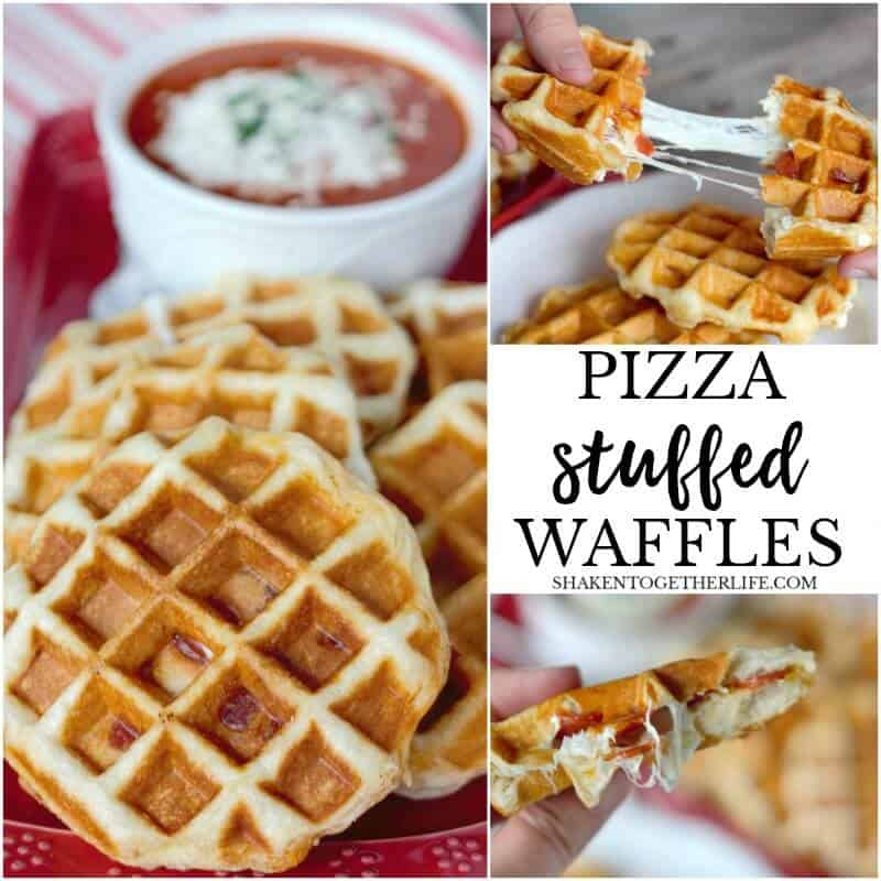 Pizza Stuffed Waffles in 10 minutes with just 4 ingredients! This easy dinner idea of pizza waffles is quick, delicious and a family favorite!