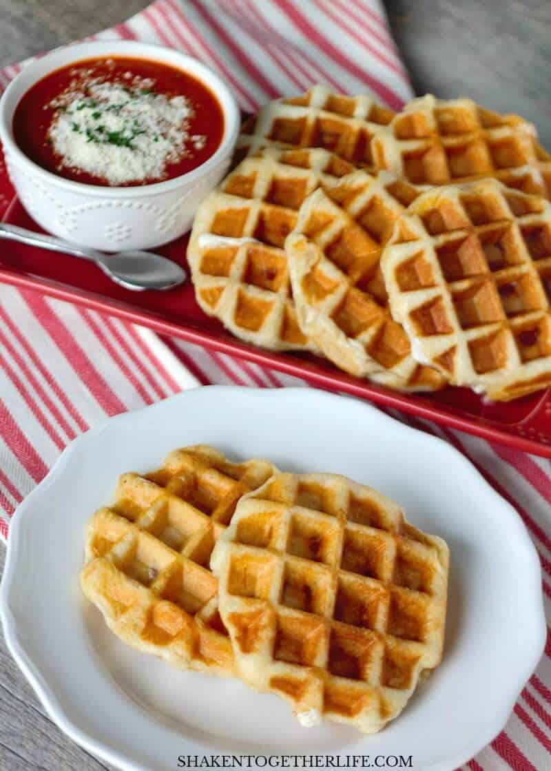 Pizza Stuffed Waffles - or Pizza Waffles - have a crispy outside and ooey gooey cheese and pizza toppings stuffed inside! AND you only need 4 ingredients!