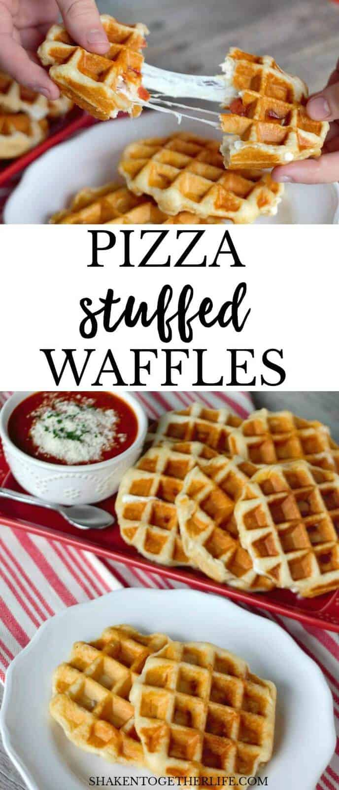 Pizza Stuffed Waffles! Dinner doesn't get easier than this - 4 ingredients, refrigerator biscuits and a waffle maker! This simply delicious dinner of pizza waffles is done in about 10 minutes!