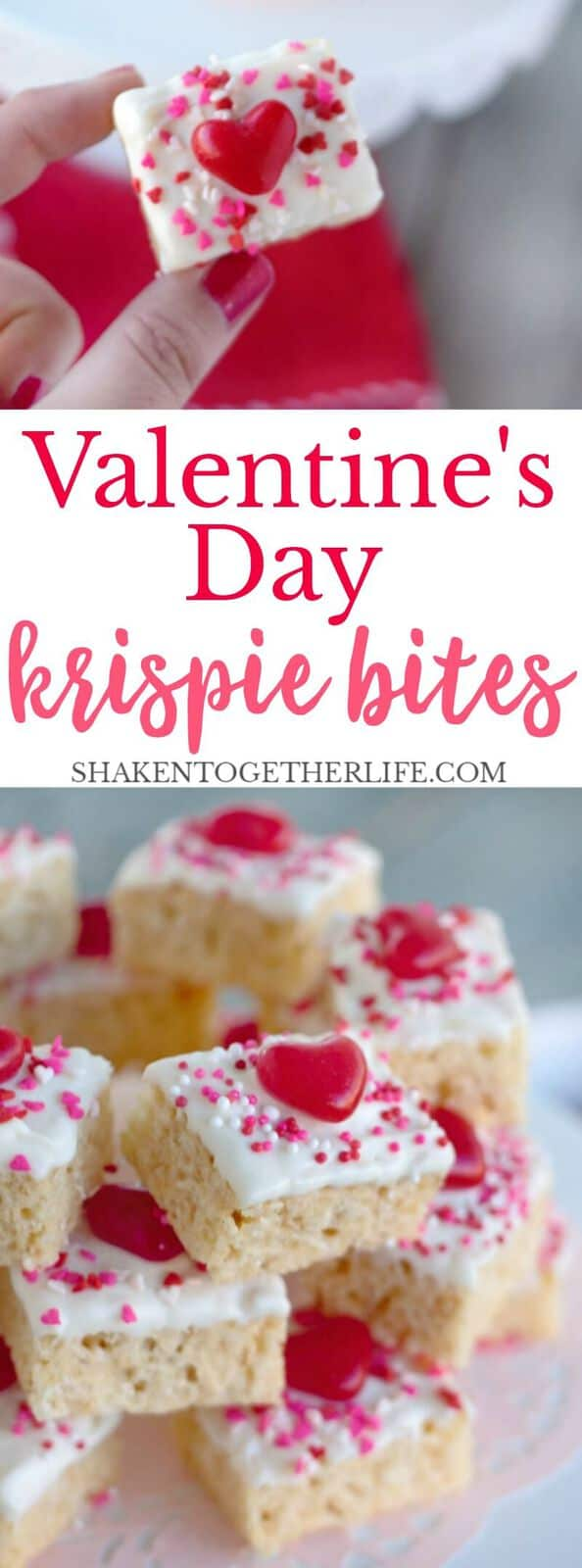 Dipped in white chocolate and topped with festive cinnamon hearts and sprinkles, Valentine's Day Krispie Bites are the easiest no bake Valentine's Day dessert!