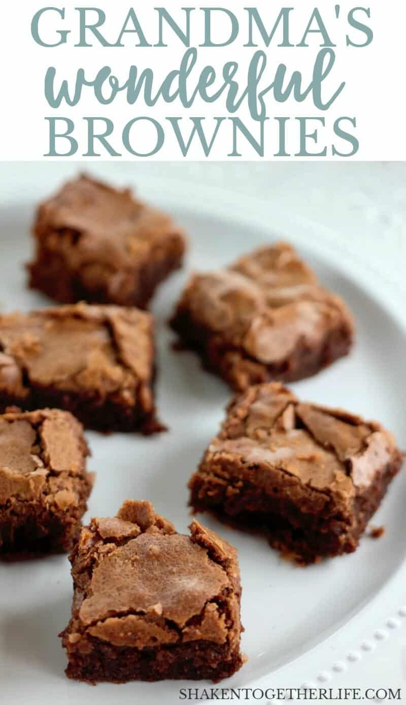 My Grandma's Wonderful Brownies are the BEST brownies from scratch! The brownie batter is full of melted chocolate and they bake up with a soft center and a crispy crackly top!