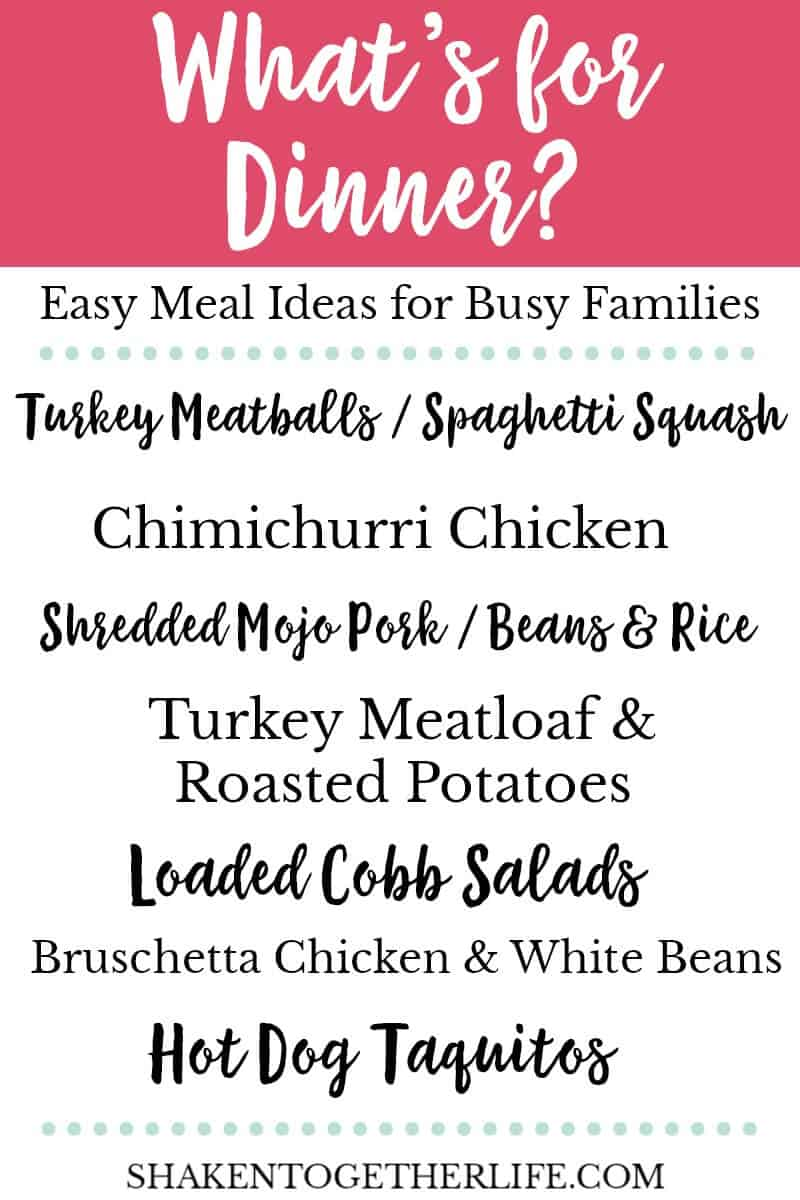 What's for Dinner? Easy Meal Ideas for Busy Families - turkey meatballs, chimichurri chicken, mojo pork, turkey meatloaf, loaded cobb salads, bruschetta chicken