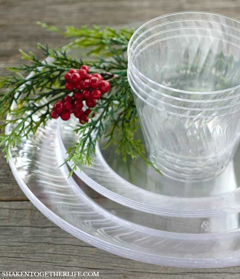 One of my favorite tips and tricks from our 10 Secrets to Holiday Entertaining is to stock up on high quality disposable table ware like the Chinet Cut Crystal products!