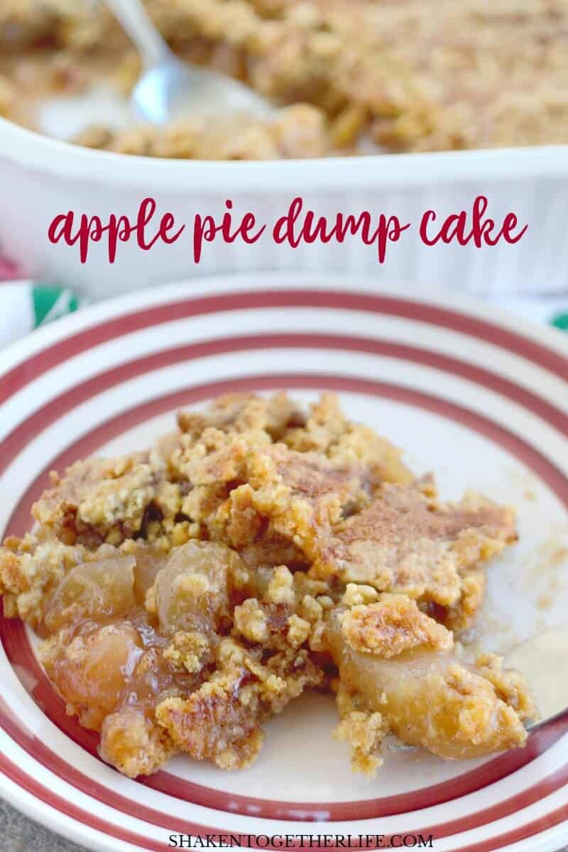 Warm apples, comforting apple pie spice and an easy, butter cake mix topping are the stars of this Fall flavored dessert. With just 4 ingredients from your pantry and fridge, this is the Easiest Apple Pie Dump Cake ever!