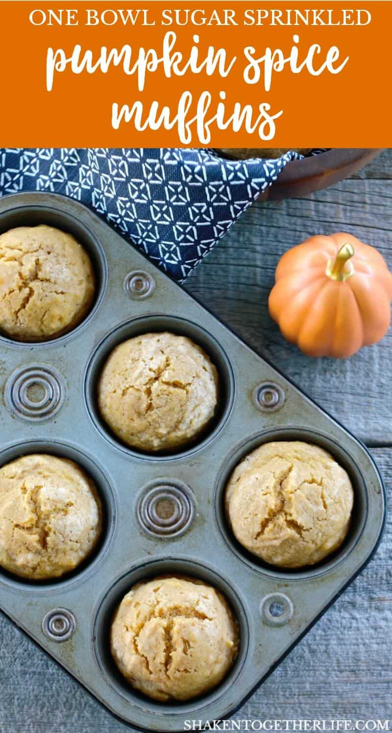 Packed with pumpkin, vanilla and plenty of pumpkin spice, these simple sturdy Sugar Sprinkled Pumpkin Spice Muffins are perfect for any Fall breakfast!