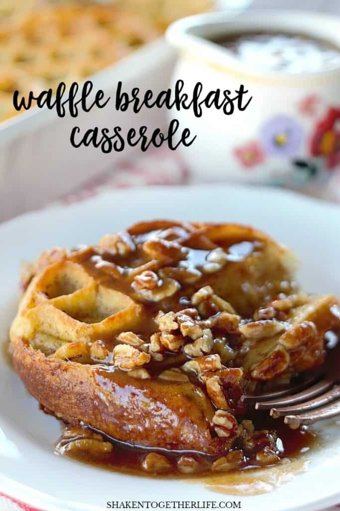 This Overnight Waffle Breakfast Casserole with Brown Sugar Pecan Sauce is perfect for holiday breakfast! Make it the night before, pop it in the oven and wake up your family to the scents of vanilla, cinnamon & syrup!