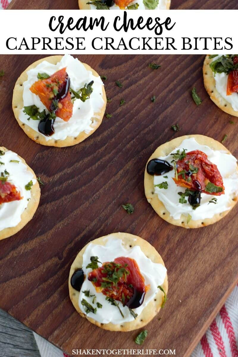 Move over mozzarella! Our Cream Cheese Caprese Cracker Bites are crispy, tangy, salty and pack a punch of flavor! With only 5 ingredients and no cooking required, this will be your new go-to holiday appetizer!