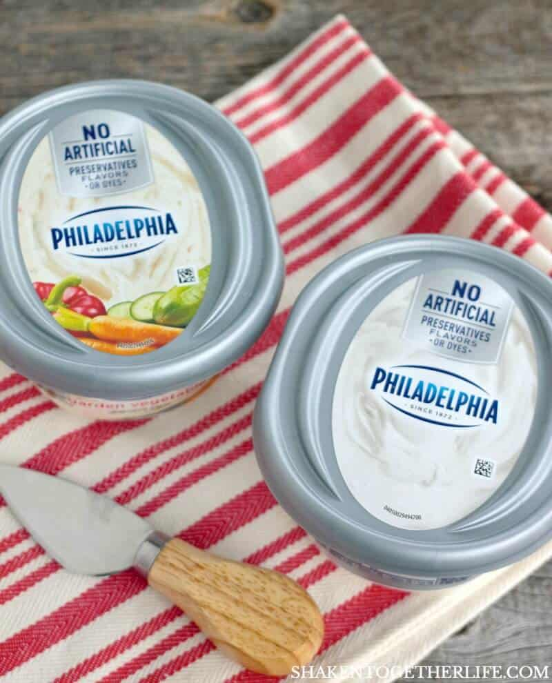 Cream Cheese Caprese Cracker Bites start with the cool, creamy tang of PHILADELPHIA Original Cream Cheese
