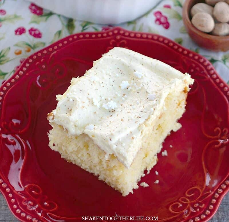 Eggnog Cake & Fluffy Eggnog Frosting - this cake tastes JUST like eggnog! With eggnog and fresh nutmeg in the cake and frosting, this is an unapologetically eggnog dessert for sure!