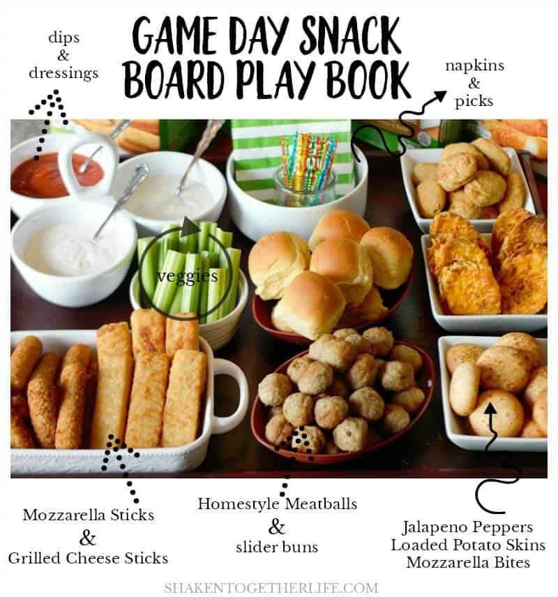 Use a page from my entertaining play book to put together this easy EPIC Game Day Snack Board! It's packed with fan favorite finger foods and 3 savory dips!