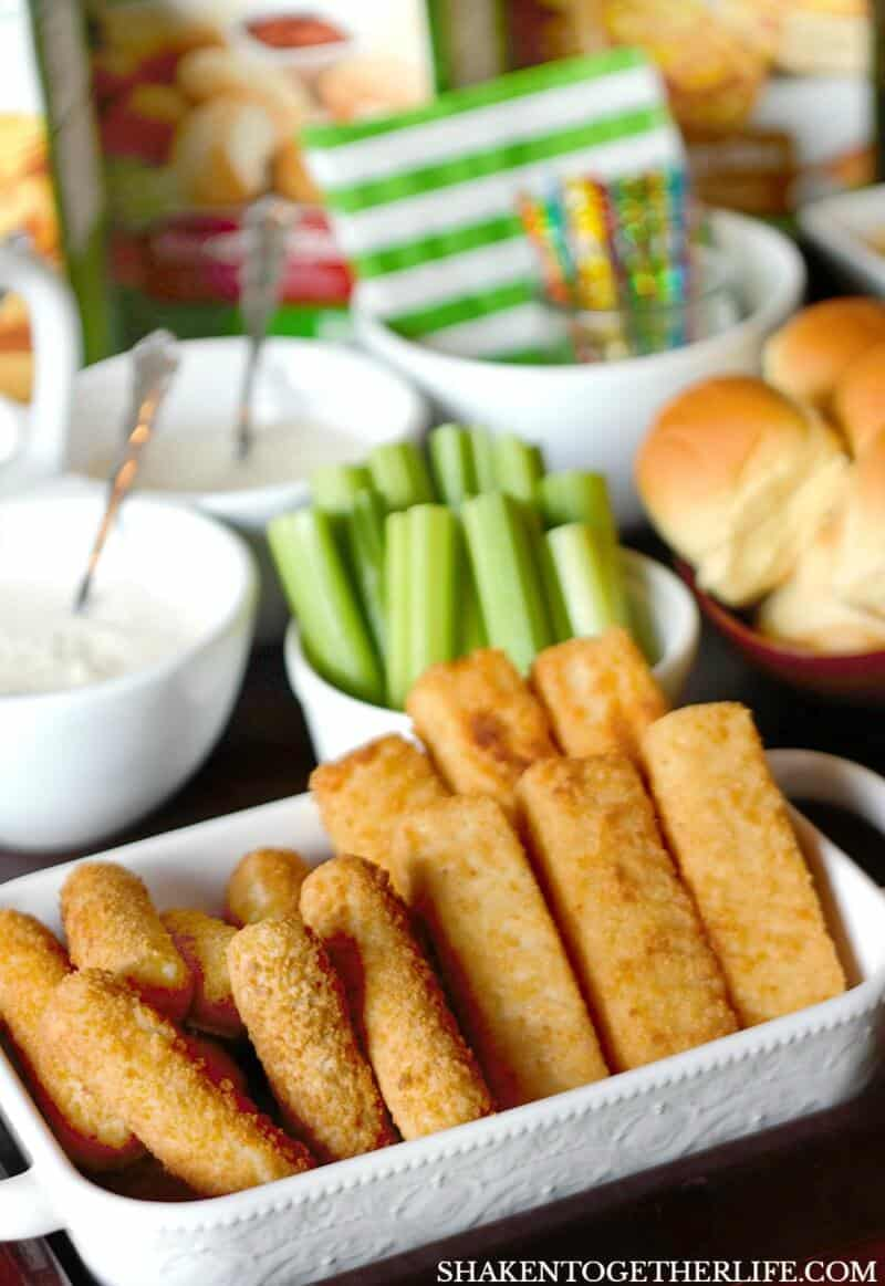 This EPIC Game Day Snack Board features mozzarella sticks, grilled cheese sticks, meatballs and more with 3 savory dips! What an easy easy to entertain for the big game!