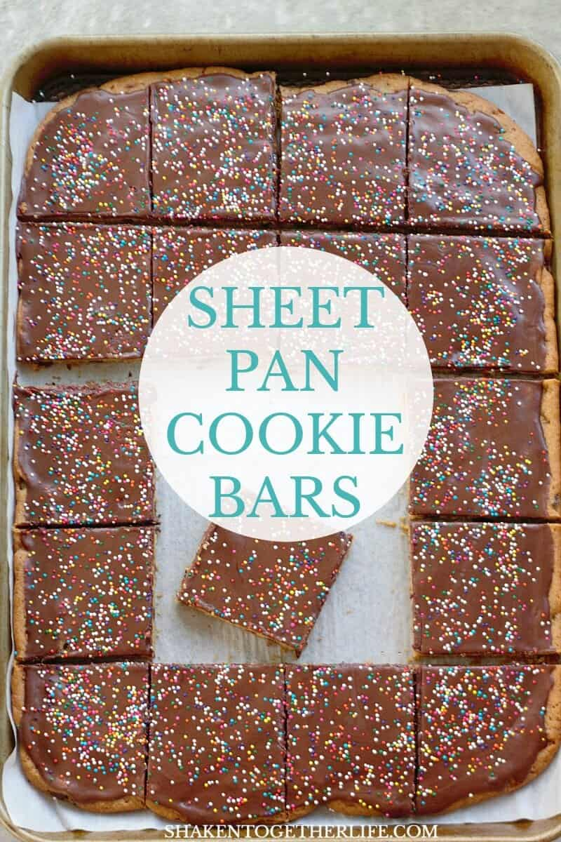 Need a quick dessert with a little flair? Frosted Sheet Pan Cookie Bars start with refrigerated dough and get topped with your favorite frosting and loads of sprinkles!