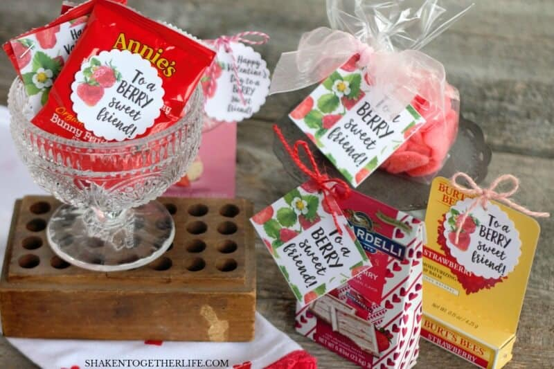 "Our inexpensive but adorable Strawberry Themed Gifts look ""berry cute"" dressed up with the Berry Sweet Printable Tags! Candy, fruit snacks, lip balm & lots more berry themed gift ideas are included!!"