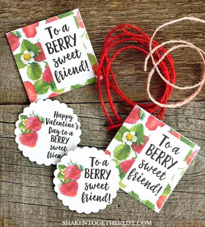 Strawberry Themed Gifts and Berry Sweet printable tags - this list of inexpensive but adorable strawberry themed gifts is perfect for friends and Valentines!
