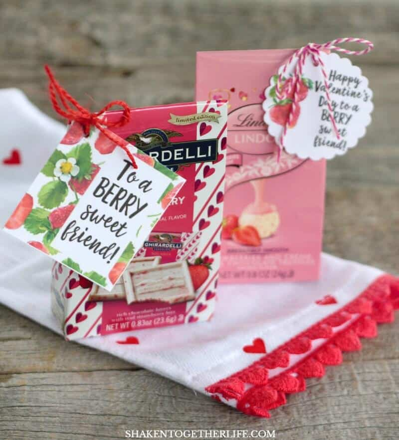 Strawberry Themed Gifts + Berry Sweet Printable Tags - mini boxes of strawberry truffles and chocolate make sweet coworker gifts!