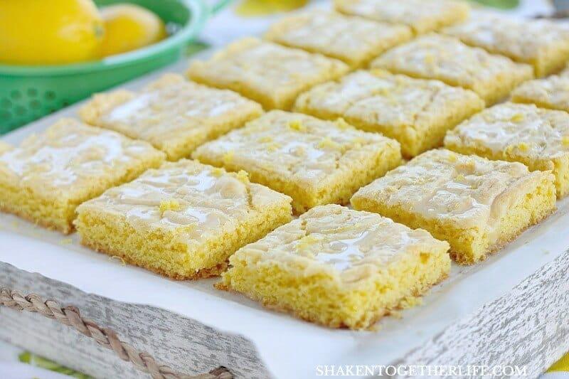 Lemon Glazed Lemon Bars From A Cake Mix Shaken Together