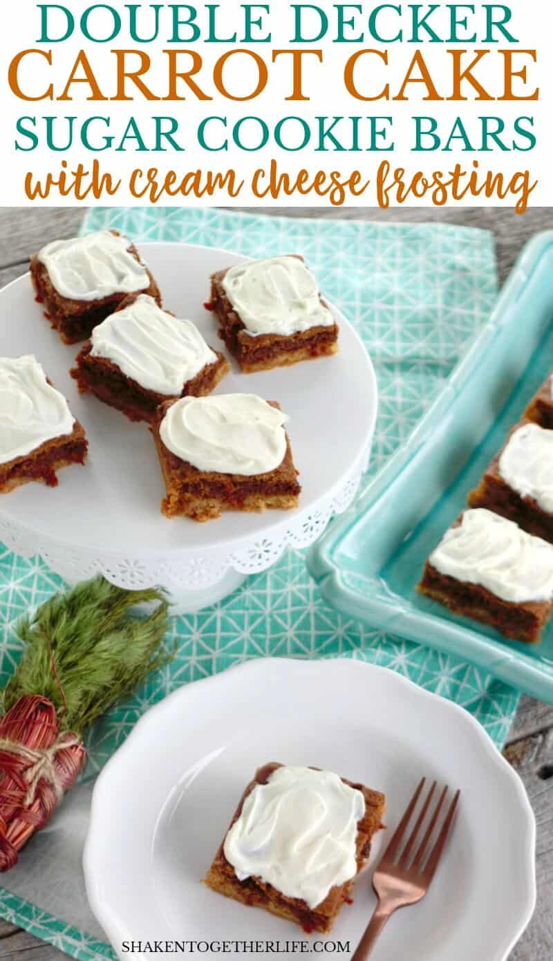 Double Decker Carrot Cake Sugar Cookie Bars with Cream Cheese Frosting! A layer of soft sugar cookie is topped by a layer of carrot cake mix cookie and topped with a layer of tangy cream cheese frosting! This Easter dessert is a knock out!
