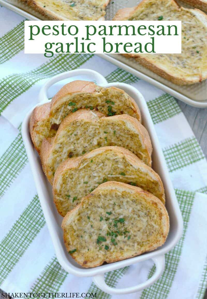 Homemade Pesto Parmesan Garlic Bread makes any pasta dinner extra special! I don't know if I'll ever buy frozen garlic bread again!
