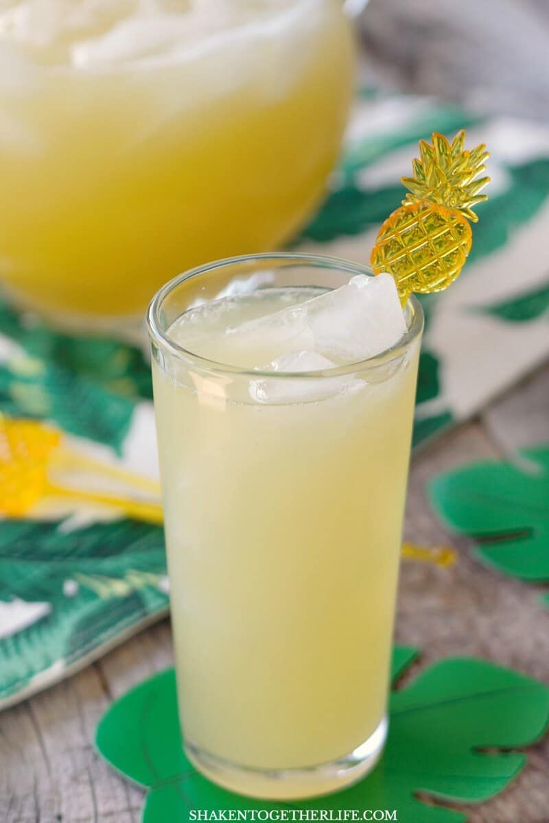 Skinny Sparkling Pineapple Lemonade Punch is refreshing and flavorful with only 3 ingredients and 50 calories per glass!