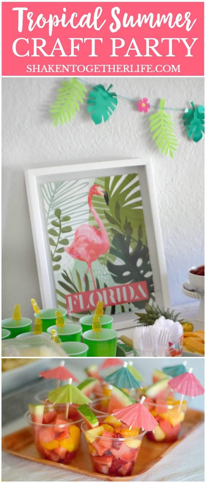 Grab your gal pals and throw a bright and festive Tropical Summer Craft Party! A pineapple cheese tray, tropical fruit salad and corn & avocado salsa round out the food and there are 4 EASY tropical craft ideas to make with the girls!