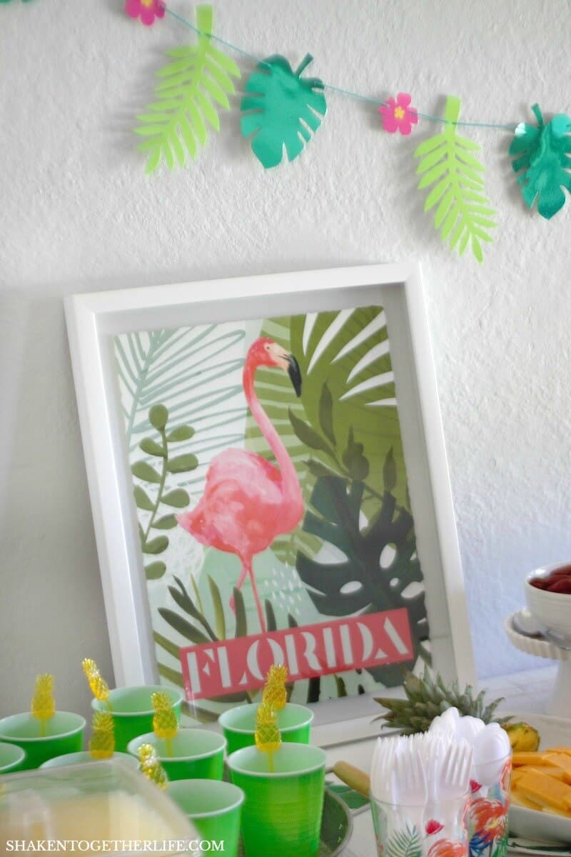 For our Tropical Summer Craft Party, I used pink, green and yellow as the primary color pallet and highlighted tropical leaves, flamingos and pineapples in the decor, food and crafts!