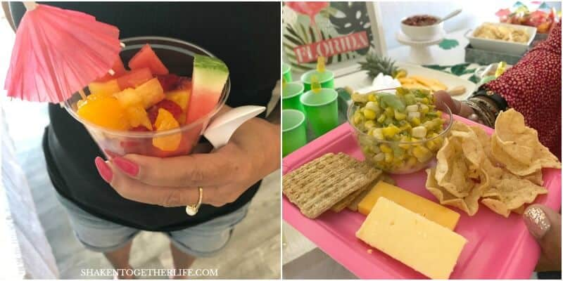 Guests will love the food for your Tropical Summer Craft Party: Tropical Fruit Salad, Corn & Avocado Salsa bar, Hawaiian Cocktail Sausages, a Pineapple Shaped Cheese Tray and Skinny Sparkling Pineapple Lemonade are on the menu!