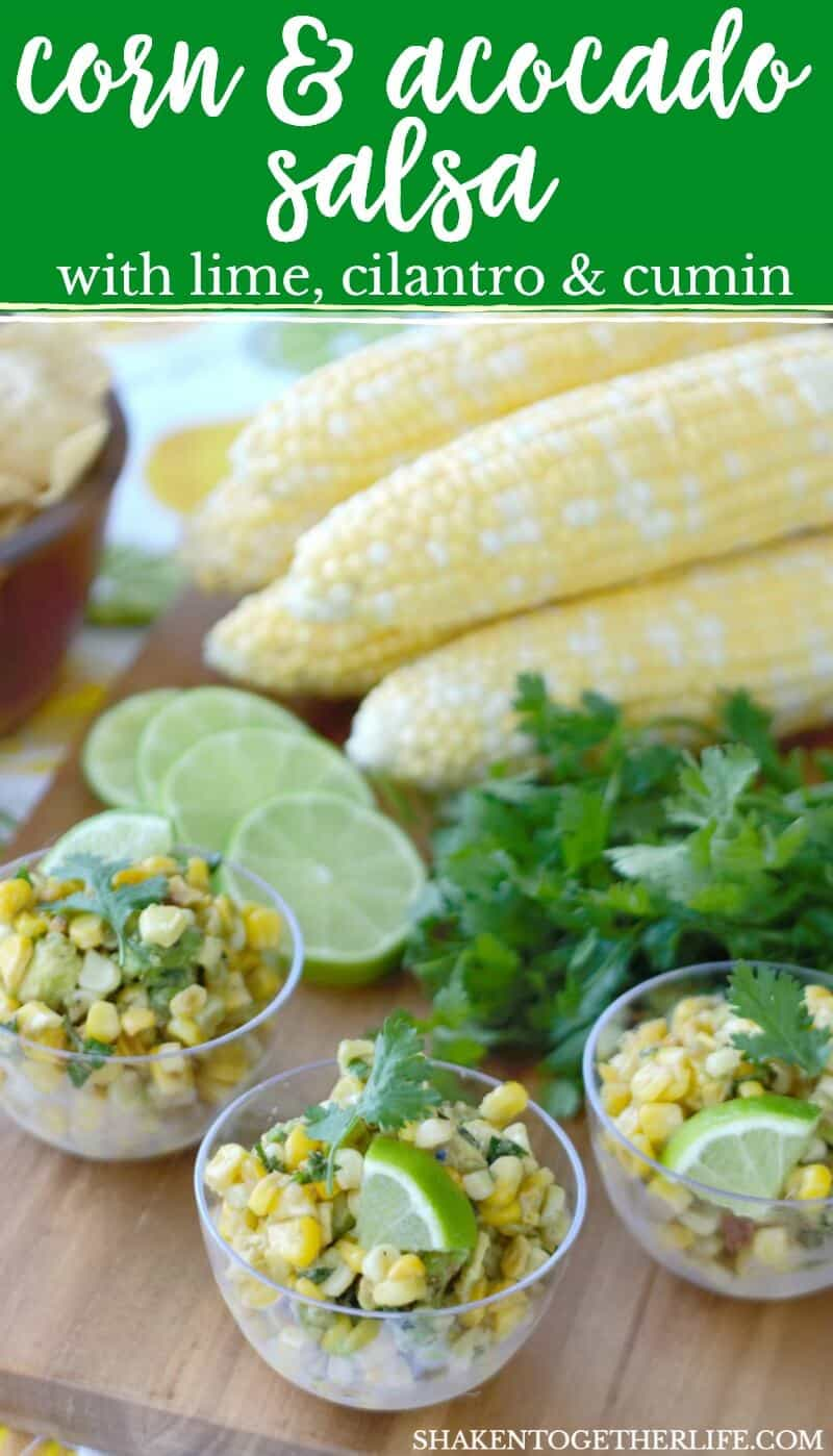 Fresh sweet corn and creamy avocados are the stars in this simple Summer dish: Corn & Avocado Salsa! The lime, cilantro and cumin based dressing is savory and packed with flavor!