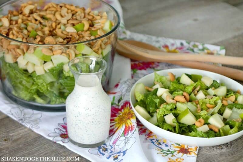 This salad made with green apples, Swiss cheese, cashews and a homemade creamy poppy seed dressing is fresh, simple and absolutely delicious!