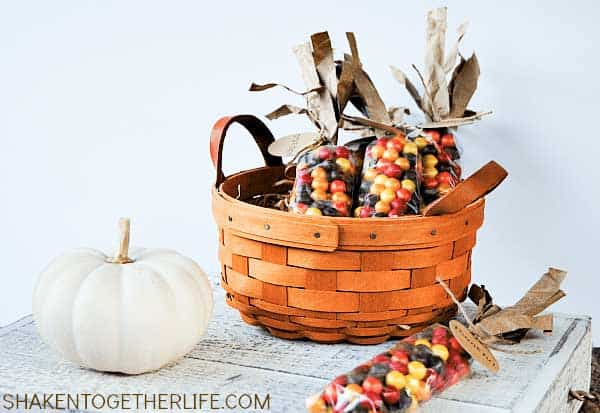 indian corn favors made with sixlets in basket with white pumpkin