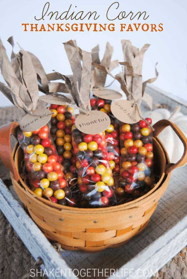 indian corn favors made with candy in basket for thanksgiving