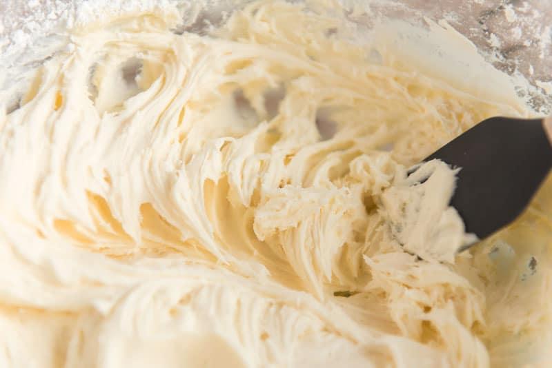 mixing eggnog icing